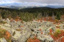 Hraniční skály - Góra Goworek - výhled do Kladské kotliny