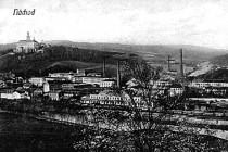 Mautnerovy textilní závody (Tepna) v r. 1908 od Bělovse, vpředu rybník Figury, foto - archiv A. Samka