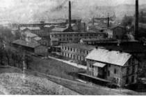 Mautnereovy textilní závody v dobách největší slávy (r.  1895), pohled od Plhova