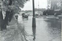 Povodeň 18.6.1979 v 16 00 v době kulminace, Náchod - MEZ (u Hamer), foto - Povodňový plán města Náchoda