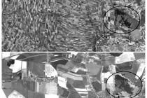 Letecké snímky PR Zbytka a okolní krajiny srovnání stavu před kolektivizací s dnešní podobou. foto – http://kontaminace.cenia.cz/