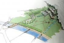 """Skica nového lázeňského areálu, který měl podle původního záměru města (dnes to je doufejme """"mrtvý projekt"""") vzniknout pod bělovesským lomem ... obr. materiály z komise UP a výstavby"""