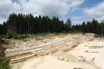 Lom U devíti křížů, výchozy těžených triasových pískovců na jejichž vrstevních plochách se občas najdou zkamenělé stopy dinosaurů