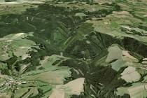 Pekelské údolí na 3D modelu reliéfu, pohled od Nového Města. obr. - GIS KhK