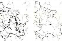 Srovnání rozšíření vstavače osmahlého ve východních Čechách v 50. letech a dnes