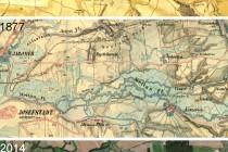 """Na historických mapách i leteckém snímku je dobře vidět zatravněná niva Metuje uprostřed zemědělsky intenzivně obhospodařované krajiny. Na fotografii je nově """"navíc"""" na severním okraji nivy zregulované koryto tzv. nové Metuje"""