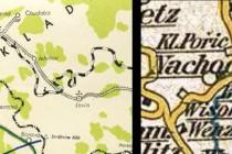 Plánovaná železnice na pruské mapě z druhé poloviny 19. st. a realizovaná železnice na turistické mapě z r. 1947