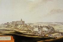 Původní vzhled zámeckého kopce bez dřevin v době barokní. obr. - Wikipedia
