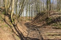 Hlavní přístupová cesta prochází na severní straně dvojitou klešťovitou bránou