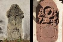 Staré náhrobní kameny zazděné v hřbitovní zdi