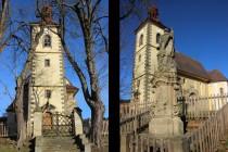 Kostelu dominuje vysoká renesanční věž s barokní cibulí
