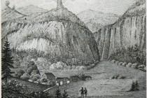 Vůbec nejstarší zobrazení Záboře na litografii z r 1853. obr.: Broumovsko na historických zobrazeních, P. Bergmann, Juko, 2014