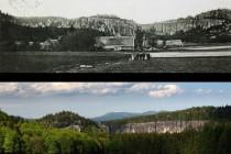 Na Záboři v r. 1902 a o sto let později . hist. foto: Broumovsko na historických zobrazeních, P. Bergmann, Juko, 2014