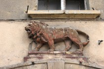 Ještě jeden lev. Tentokrát už nikoliv ten český, královský. Staré domy v Kladsku nesou často domovní znamení...
