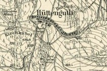 Zaniklá osada Hüttengut na pruské mapě z poloviny 19. století