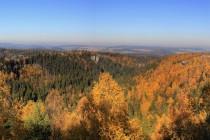 Výhled z hřebene Supích skal do Údolí tří mušketýrů