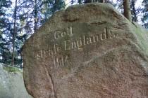Janovické Rudohoří - kámen s nápisem Gott straffe England