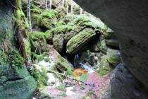Do skalní brány voda vtéká z podzemních prostor rozsáhlého suťoviště