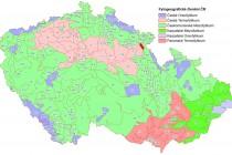 Mapa botanické členění republiky s přibližnou polohou lokality
