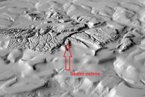 Lidarový model terénu pískovcové plošiny Adršpašsko-teplických skal  s vyznačeným Skalním ostrovem